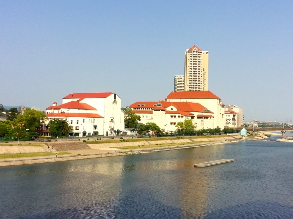 A view of the theatre complex from across the river