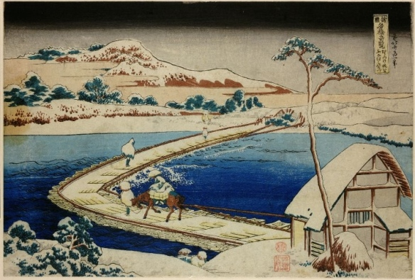 Hokusai: The bridge of boats at Sano © British Museum