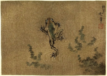 Hokusai - frog swimming above reeds © British Museum