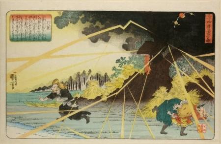 Utagawa Kuniyoshi - Oho protecting his mother's grave from lightning © British Museum